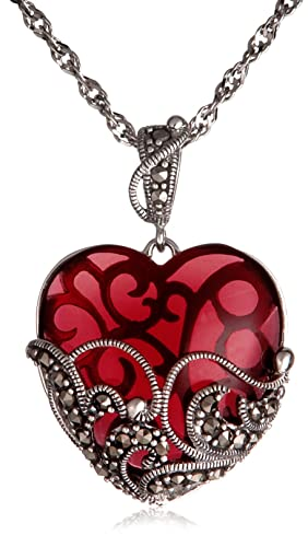 Sterling Silver Marcasite and Garnet Glass Heart Pendant