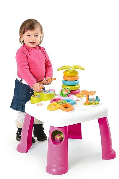 Smoby Toys, 211170, Cotoons Table d'Activités, Jeu d'Eveil, Fonctions Electroniques et Mécaniques, Rose
