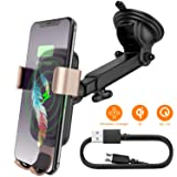Squish Qi Wireless Car Charger Mount 10W 7.5W, Fast Charging Wireless Charger Car Phone Mount, Cell Phone Holder for iPhone Xs Max/XS/XR/X/8Plus/8 and for Samsung S10/S9/S9+/S8/S8+/Note9/Note8 etc (Color: Gold)