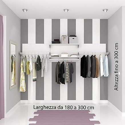 Cabina armadio, armadio a muro. Allestimento negozio su misura. Alluminio qualità