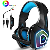PS4 Headset,Xbox One Headphones,Gaming Headset with LED light,Stereo Gamer Headphones,3.5mm wired Over-ear Noise Isolating Microphone Volume Control for Mac(Black-Blue) (Color: Black-Blue)