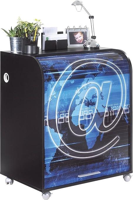 Simmob MUST095NO801 motivo: chiocciolina 801-Informatique-Tenda stampata, con ruote, in legno, colore: nero, 53,2 x 79,2 x proprietà al 93,8 cm