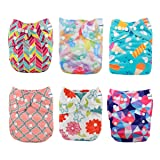 Babygoal Baby Cloth Diapers, Adjustable Reusable Pocket Nappy, Girl Color, 6pcs Diapers+6pcs Microfiber Inserts+4pcs Bamboo Inserts 6FG29 (Color: Girl color29, Tamaño: One Size)
