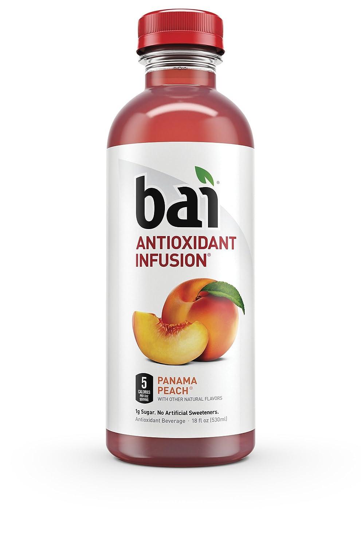"""Bai Panama Peach, 5 Calories, No Artificial Sweeteners, 1g Sugar, Antioxidant Infused Beverage (Pack of 12)"""