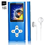 MP3 Player/Music Player,EVASA with a 16 GB TF Card Portable Digital Music Player/Video/Voice record/FM Radio/E-Book Reader,Ultra Slim 1.8''Screen (Color: Deep Blue)