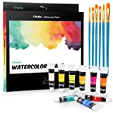 Watercolor Paint Set, Ohuhu 24 Water Colors Paint Tubes with 6 Painting Brushes for Artists, Students, Beginners, Water-Color Paints Kit for Landscape Portrait Paintings on Canvas, 12ml x 24 Tubes (Color: 24 colors)