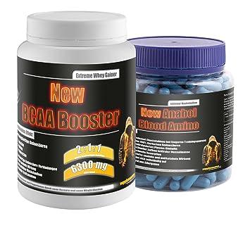 New BCAA Booster 454g Multifrucht!+New Anabol Blood Amino 350Kaps.! BCAA Aminsäuren Muskelaufbau Testo Testosteron Doping Anabol Anabolika