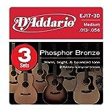 3 juegos  de Cuerdas para guitarra acústica, medio, 13-56, D'Addario EJ17-3D Phosphor Bronze