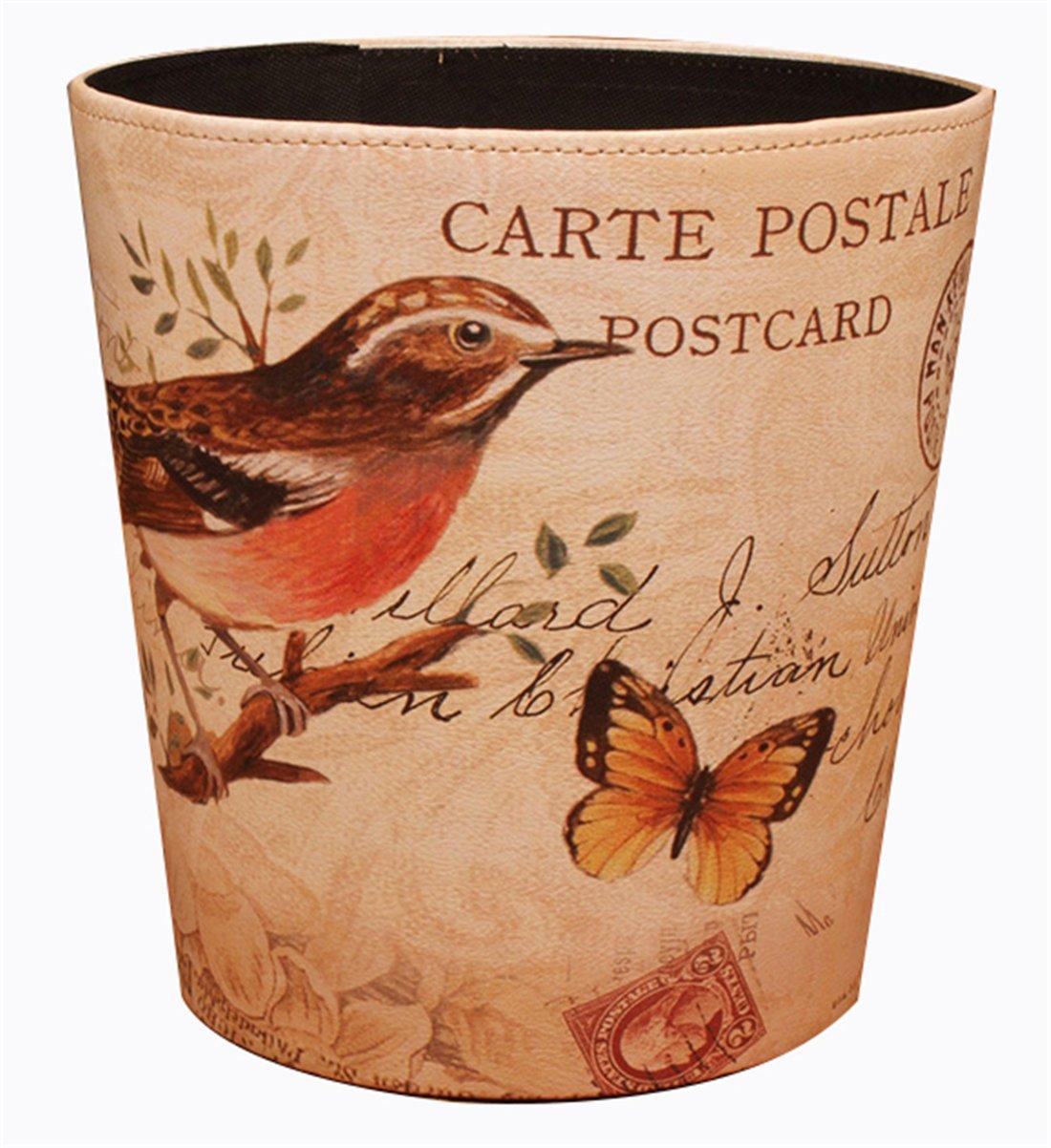Bestwoo Pastoral Style Trash Can Wastebasket Bin without Lid (Bird) 0