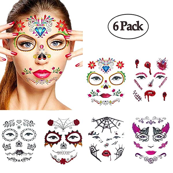 8058585fe Halloween Temporary Face Tattoos,WenMei Skull Scar Spider Blood Bat Rose  Floral Fake Tattoos Sticker for ...