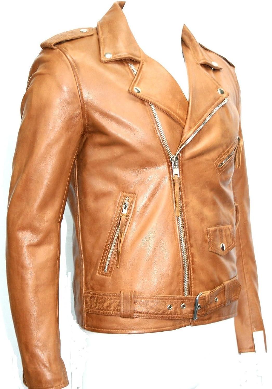 Man Tan Farbe Brando Waxed Weiche italienischen Nappa Echtes Leder Biker -Jacken Alle Größen günstig online kaufen