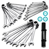 GEARDRIVE 22-piece Ratcheting Combination Wrench Set,SAE & Metric with Carrying Bag