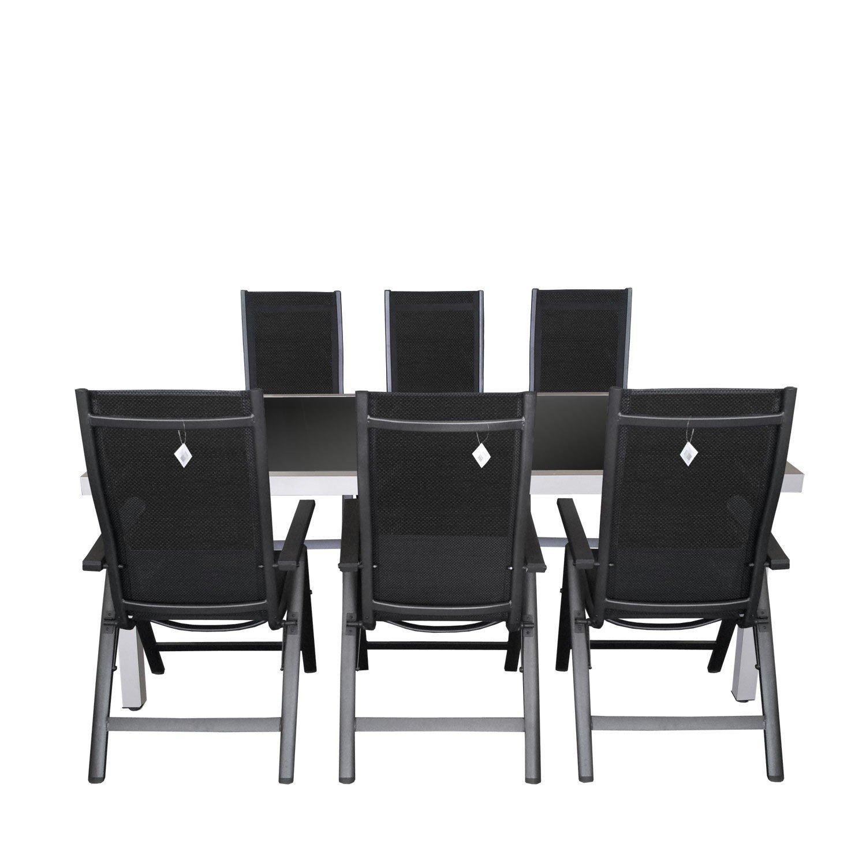 7tlg gartengarnitur aluminium glastisch 180x90cm. Black Bedroom Furniture Sets. Home Design Ideas