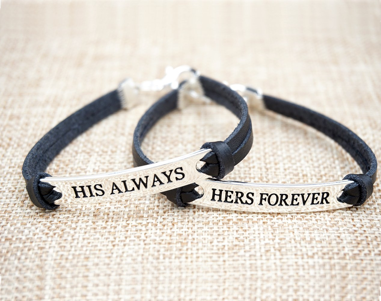 leather relationship bracelets for him and her