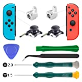 2-Pack 3D Replacement Analog Joystick for Nintendo Switch Joy Con Analog Thumb Stick Include Tri-Wing & Cross Precision Screwdriver Tool + 2 Pcs Metal Lock Buckles for Nintendo Switch Controller