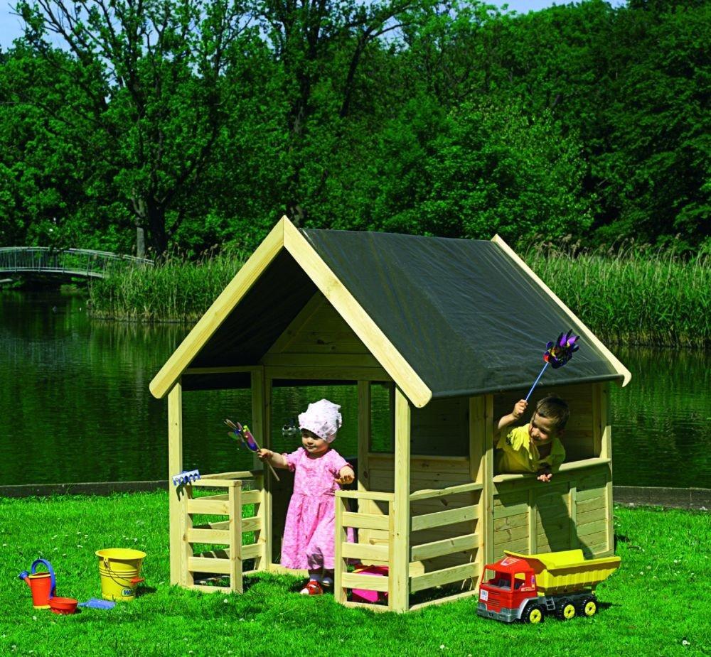 Spielhaus Moritz mit Veranda Kinderhaus Gartenhaus Bausatz günstig online kaufen