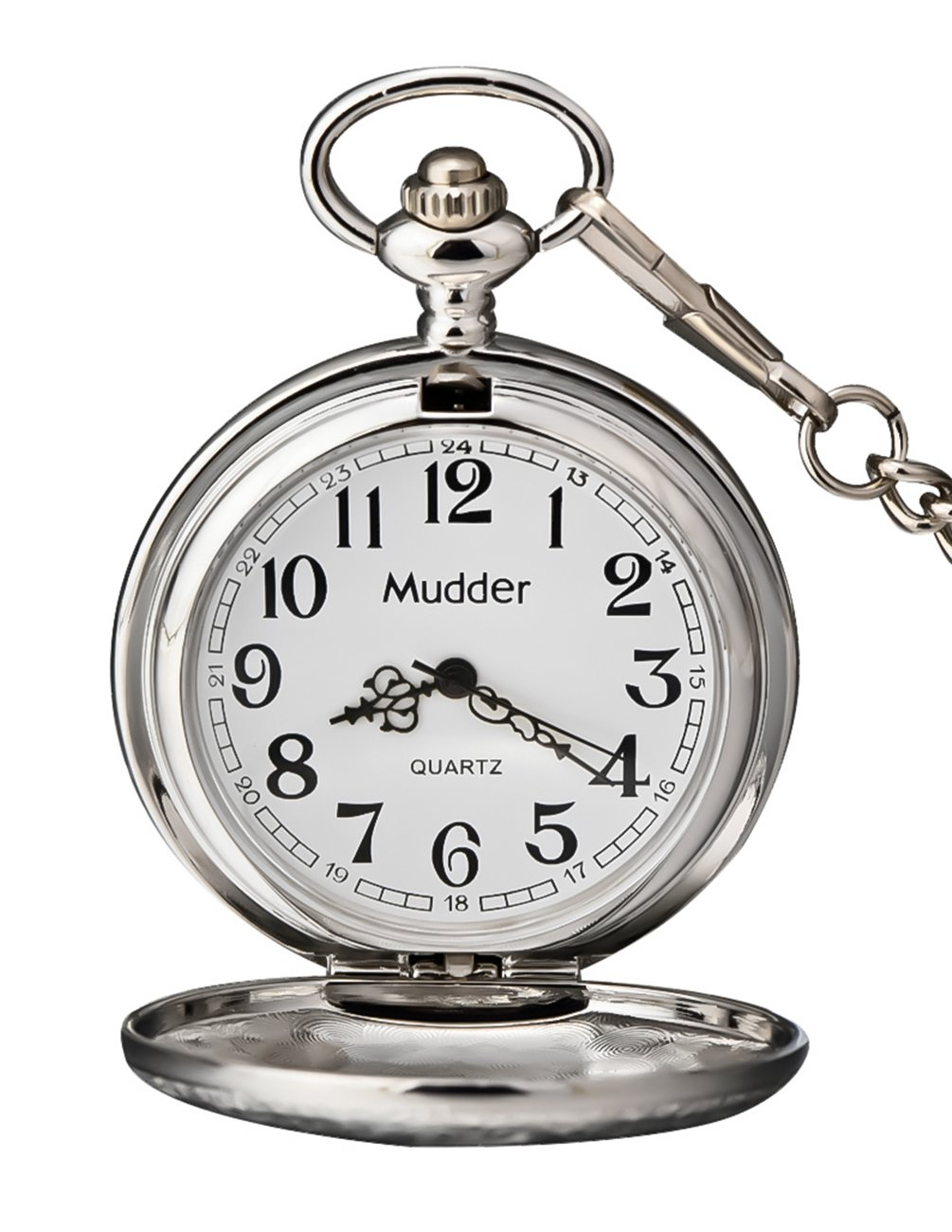 Mudder Vintage Silver Stainless Steel Quartz Pocket Watch Chain 2