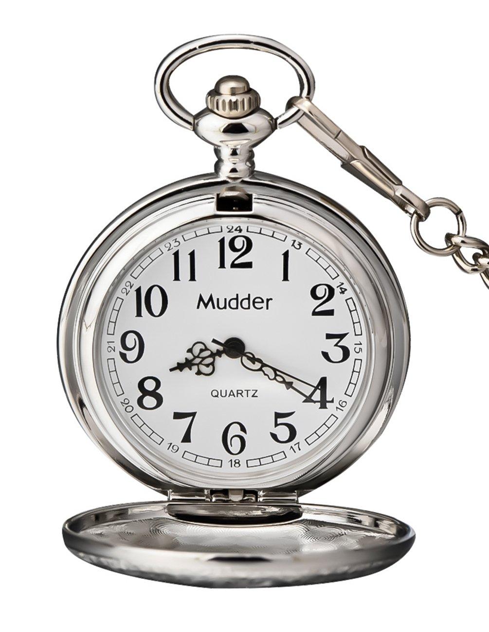 Mudder Vintage Silver Stainless Steel Quartz Pocket Watch Chain 2