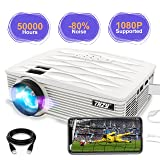 THZY Video Projector 2200 lumen Full HD LED Mini Portable Projectors 1080P Supported Compatible with Amazon Fire TV Stick, HDMI, VGA, USB, AV, SD Card, iPhone, PS4 for Home Theater Entertainment (Color: GP16)