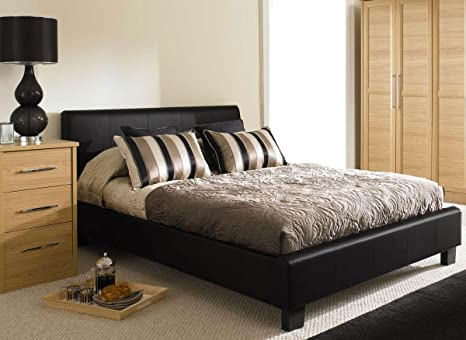 NEW 5ft BLACK MODERN FAUX KINGSIZE LEATHER BED FRAME AND 1200 COUNT POCKET SPRUNG MEMORY FOAM MATTRESS