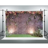 Maijoeyy 7x5ft Flower Backdrop Brick Wall Flower Photography Backdrop for Picture Photography Props HJ02193 (Color: ZJ-HJ02193, Tamaño: 7ft(W)×5ft(H))