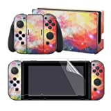 eXtremeRate The Dazzling Galaxy Print Stickers Full Set Faceplate Skins +2Pcs Screen Protector for Nintendo Switch/NS Console & Joy-con Controller & Dock Protection Kit (Color: Dazzling Galaxy)