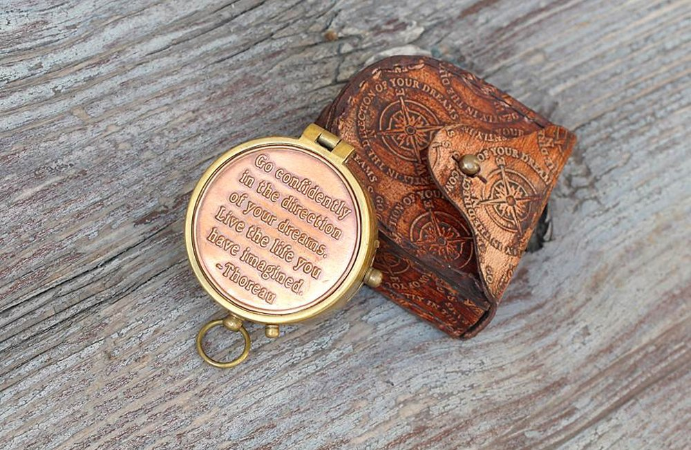 Thoreau's Go Confidently Quote Compass W/Stamped Case. 2
