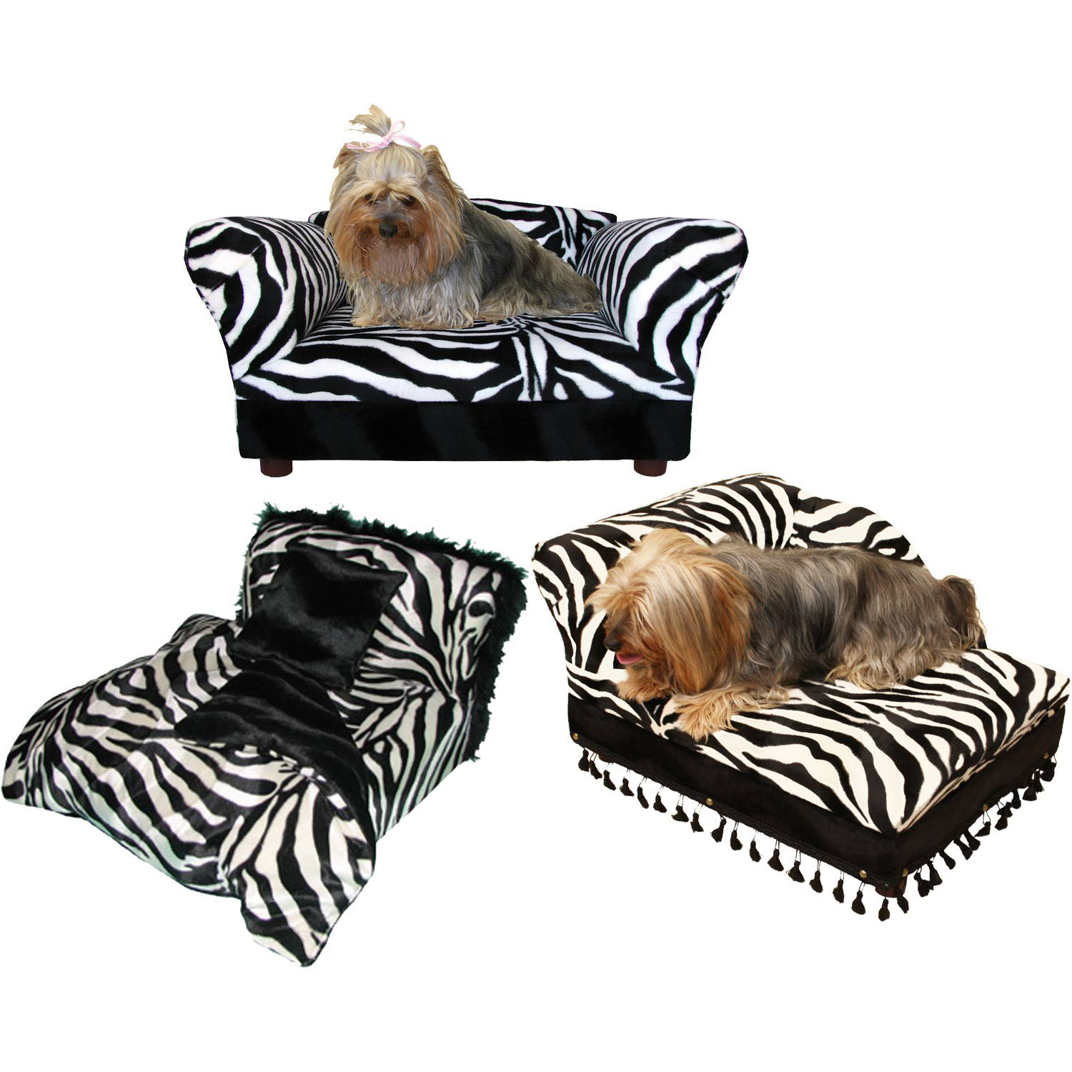 Fantasy Furniture 3 pcs Pet Set; Sofa, Chaise and Bed Zebra Print