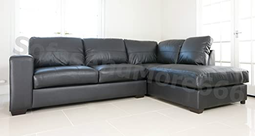 BRAND NEW WESTPOINT VENICE BIG CORNER SOFA FAUX LEATHER BLACK RIGHT HAND SIDE