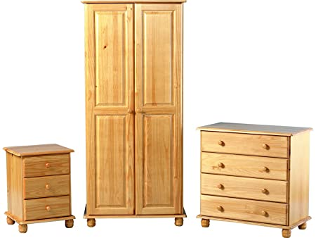 Sol Super Trio Bedroom Set Bedside Cabinet Chest Drawers Wardrobe Antique Pine