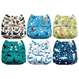 Mama Koala One Size Baby Washable Reusable Pocket Cloth Diapers, 6 Pack with 6 One Size Microfiber Inserts (Under The Sea) (Color: Under the Sea, Tamaño: One Size)
