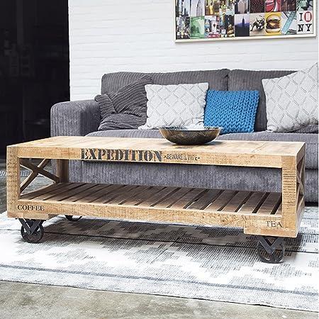 Industrie Design Couchtisch auf Rollen Vintage Holztisch Massivholz Sofatisch