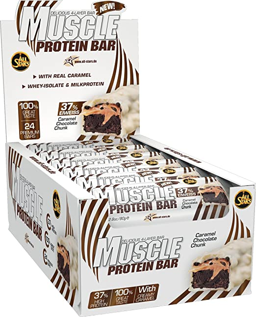 All Stars Muscle Protein Bar, Caramel Chocolate Chunk, 24er Pack (24 x 80 g)