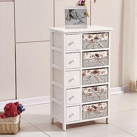 Ospi® shabby chic in legno e cassettiera cassettiera con 5cassetti e 5cesti in vimini bianco.