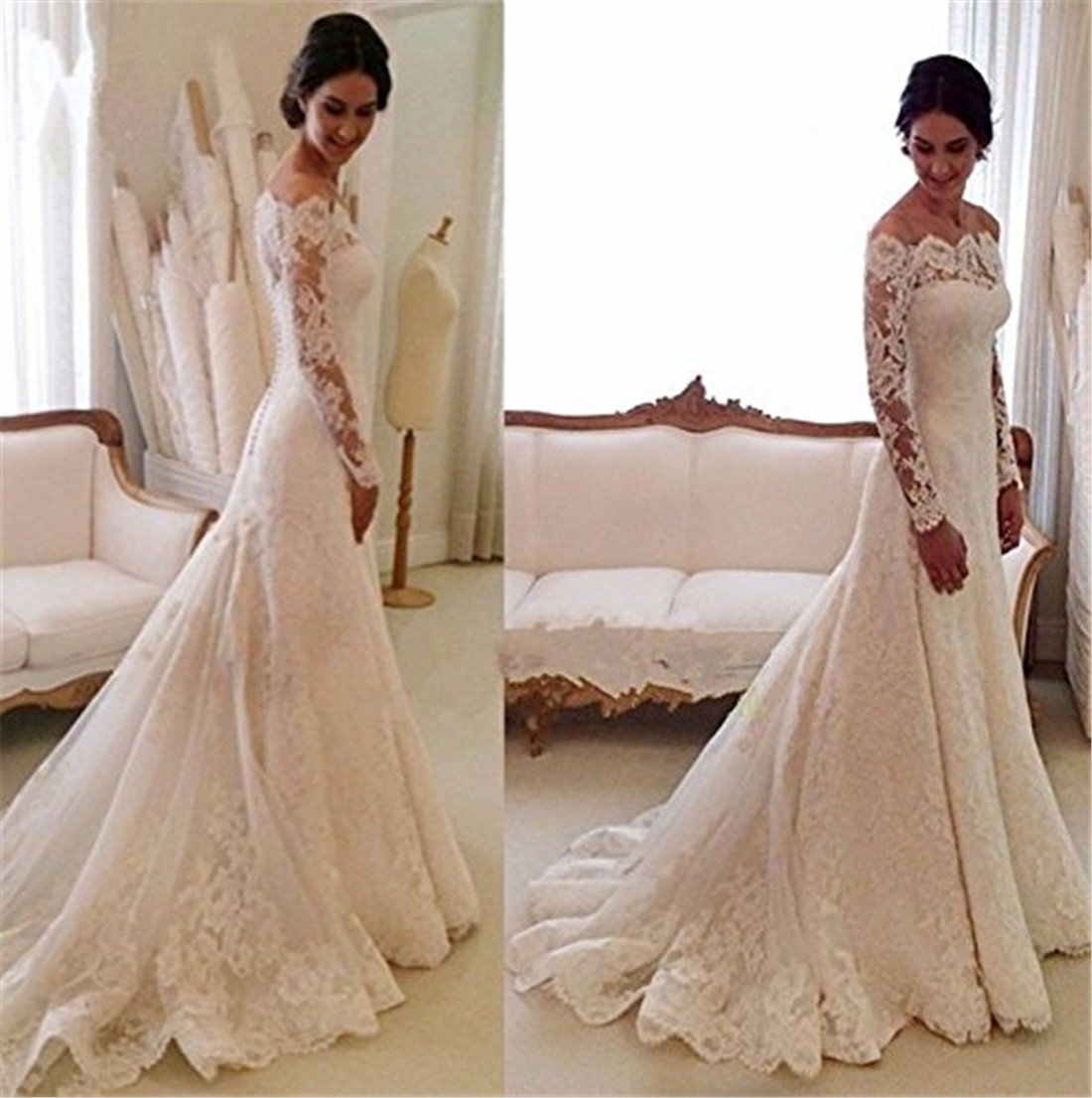 Arrowder Vintage Long Sleeves Beteau Lace Mermaid Wedding Dresses 2016 3