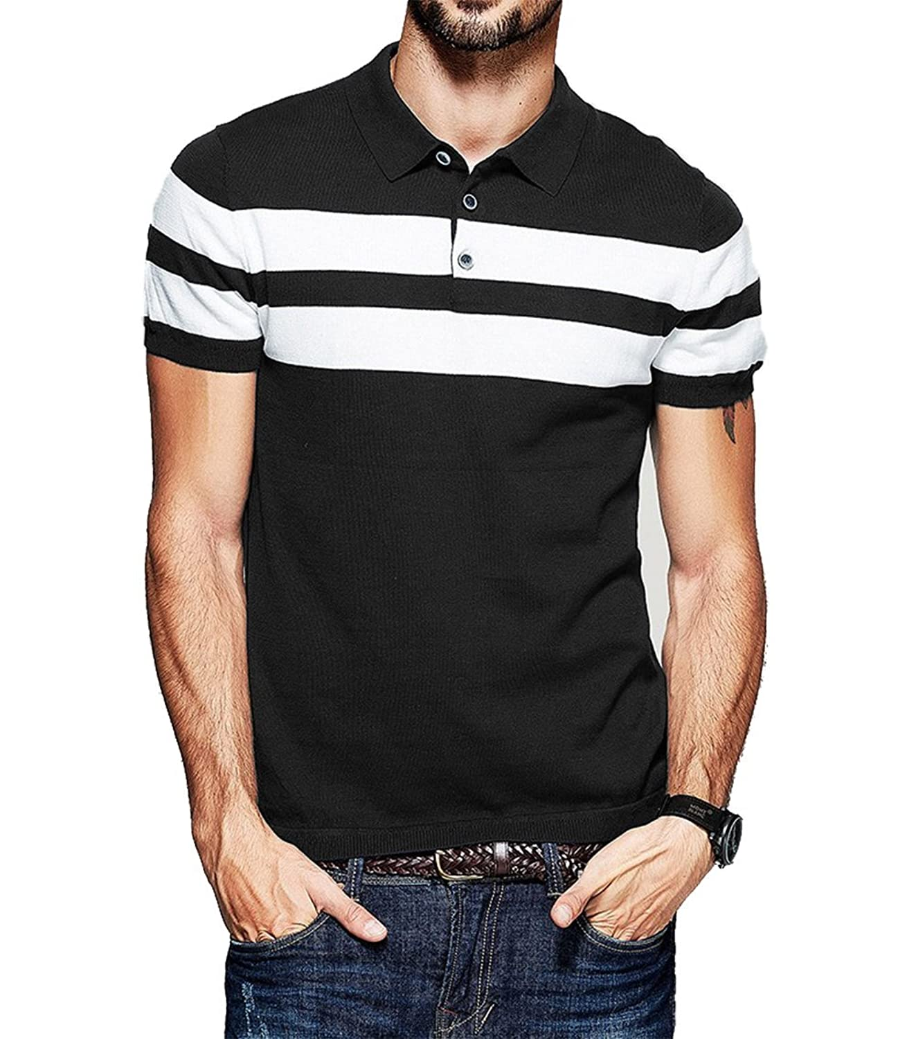 Shirt design gents - Fanideaz Men S Half Sleeve Navy Blue With White Contrast Striped Polo T Shirt