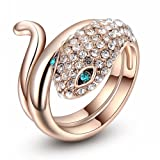 Rose Gold Plated Green Crystal Eyes Animal Snake Ring for Woman Fashion Jewelry (6)