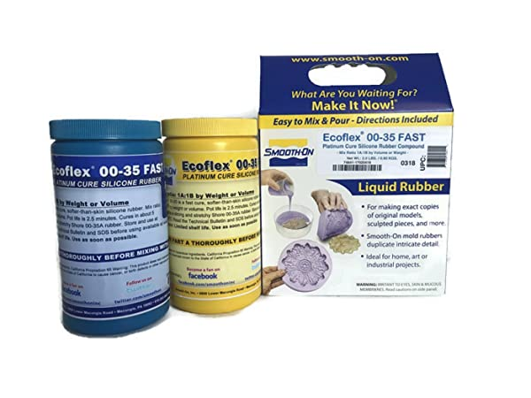 Smooth-On ECOFLEX 00-35 Fast Platinum Cure Silicone Rubber Compound Kit- 2 Lbs (Color: Translucent Clear, Tamaño: 2 Pint Kit)