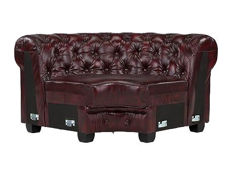 Massivum Chesterfield Sofa Modul Ecke Zusammensetzbar, Leder, rot, 98 x 172 x 79 cm