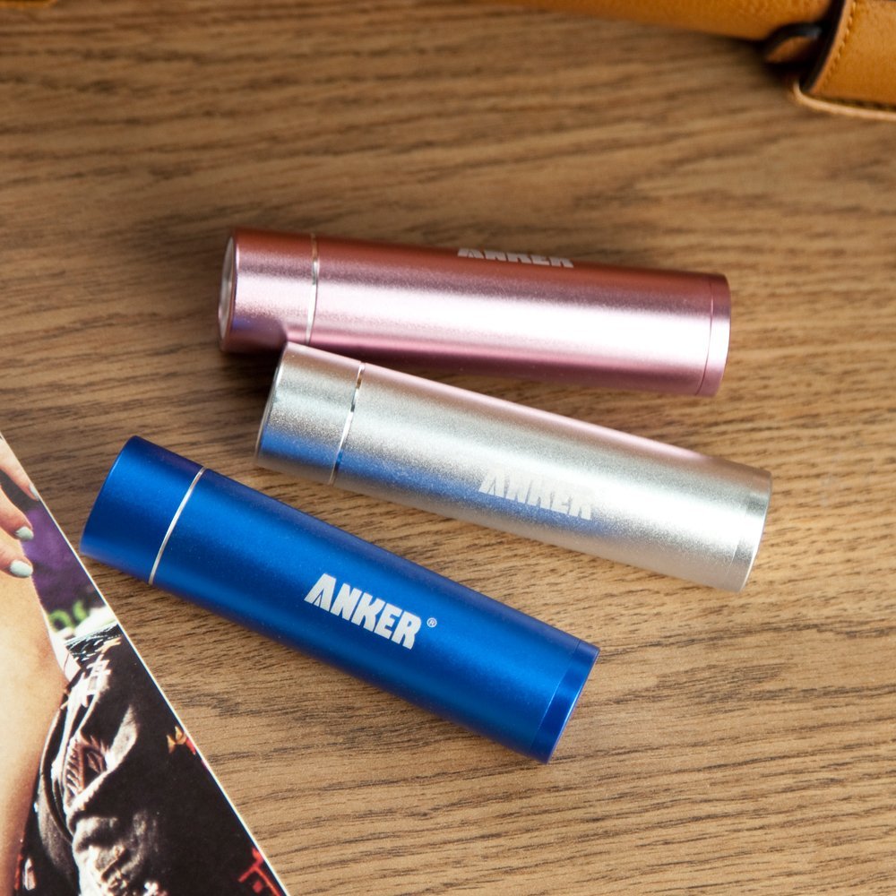 Anker® Astro Mini 3000mAh Ultra-Compact Portable Charger Lipstick-Sized External Battery Power Bank with PowerIQ™ Technology for iPhone 5S, 5C, 5, 4S, Galaxy S5, S4, S3, Note 3, Nexus 4, HTC One, One 2 (M8), Nokia Lumia 520, 1020, most other Smartphones - Pink