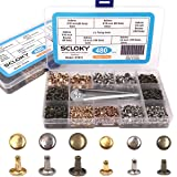Seloky 480 Sets Leather Rivets Double Cap Rivet Tubular 3 Colors 2 Sizes Metal Studs with Fixing Tools for DIY Craft/Clothes/Shoes/Bags/Belts Repair and Decoration (Color: Gold)