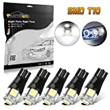 5xPartsam White Canbus Error Free Angel Eye T10 Bulbs Lamp With Excellent Heat Dissipation and Constant IC For DRL,Backup,Slide Lights,Fender Light,Dashboard Bulb,Door Lamp (Color: Canbus White, Tamaño: 5pcs)