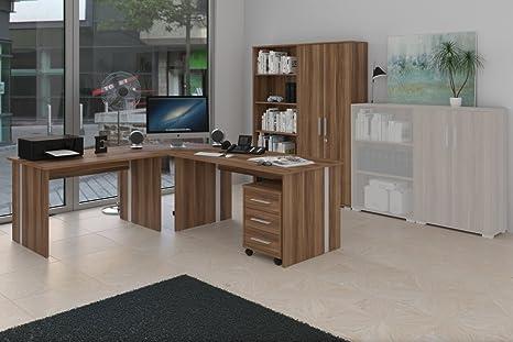 Burozimmer, Arbeitszimmer mit Schreibtisch, Aktenschrank, Regal und Rollcontainer, Dekor Nussbaum