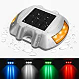 jiguoor Waterproof Solar LED Powered Road Step Light Dock Light with 6 Small LED Bulbs Inside for Outdoor Driveway Deck Garden Ground Path Yard (Color: Yellow)