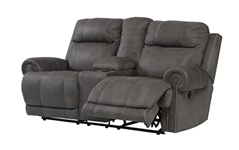 Ashley Austere 3840196 Double Reclining Power Loveseat with Storage Console Cup Holders Plush Rolled Arms and Thick Divided Back Cushions in