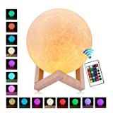 TAOTENK Moon Lamp, 16 Colors Remote Control Moon Light, 3D Printed Luna Lamp, Best Baby Night Light Home Decorative Lights Gifts - Remote/Touch Control, Adjustable Brightness, USB Recharge (5.9 Inch)