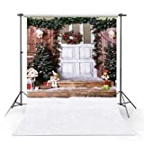 COMOPHOTO Christmas Photography Backdrop Baby Snow Christmas Tree Wood Door Photo Background Computer Printed for Photo Studio (Color: Christmas-3, Tamaño: 5x7ft-Thin Vinyl)