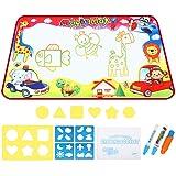 EocuSun Doodle Mat, Toddler Toys Large Aqua Doodle Mat, 7 Colored Water Drawing Mat with 3 Magic Pens and Drawing Molds, Magic Mat Educational Toys for Girls Boys Aged 2 3 4 5 6, 33.5