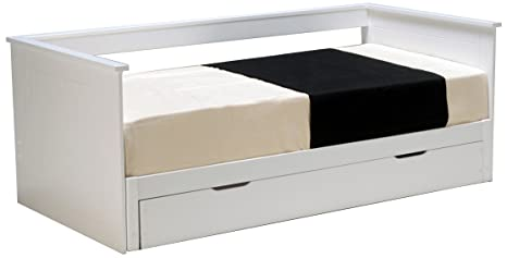 Weber Industries 20909 Mona Lit avec 2 Sommiers Laqué Blanc 196,5 x 100 x 97,5 cm