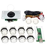 Gamelec Arcade Game Buttons and Joystick Controller Kit for Raspberry Pi and PC Games,1x 5 Pin Joystick and 10x LED Illuminated Push Buttons DIY Kits for Mame,PC and Raspberry Pi 2 3 (White) (Color: White)